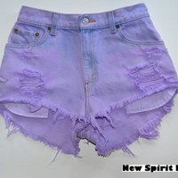 Cotton Candy high waisted denim shorts in Lilach from New Spirit Boutique