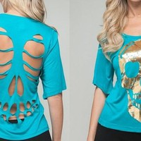 Aqua Back Slash Gold Skull Top FREE SHIPPING from TheNoirStar