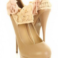 Natural Faux Leather Upper Crochet Strap Rosette Accent Pumps @ Amiclubwear Heel Shoes online store sales:Stiletto Heel Shoes,High Heel Pumps,Womens High Heel Shoes,Prom Shoes,Summer Shoes,Spring Shoes,Spool Heel,Womens Dress Shoes,Prom Heels,Prom Pumps,H