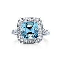 Tiffany & Co. -  Tiffany Legacy® aquamarine ring in platinum with diamonds.