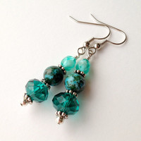 Beaded Earrings Blue Green Agate Czech Glass Fire by silverthaw