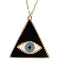Triangular Mystical Lucky/Evil Eye Necklace In Black with Silver Finish
