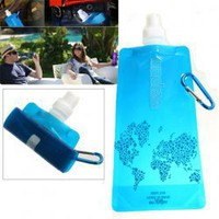 480ml Portable Blue Folding Bottle