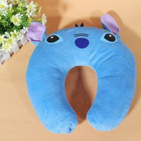 Comfortable Plush U-shape Stitch Travelling Neck Cushion (Blue) China Wholesale - Everbuying.com