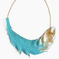Feather Necklace- Leather Feather Jewelry -Turquoise Dipped in Gold