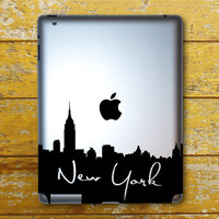 New York Skyline With Writing IPad Decal  IPad 1  by BengalWorks