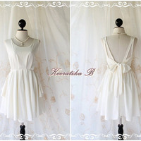 A Party - V Shape Style - Cocktail Wedding Bridal Party Bridesmaid Dinner Dress Warm Ivory Color Deep Back Style Gorgeous Looks
