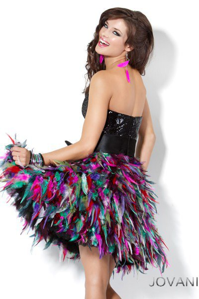 sequins top feather skirt prom dress 3509