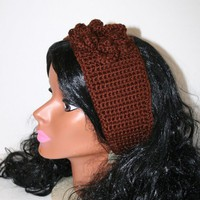 Brown Crocheted Gold Button Headband Brown Flower Ear Warmer