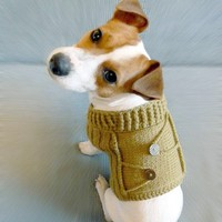 Knitted Mustard Dog Sweater M size/  Dog coat / Dog by mailo
