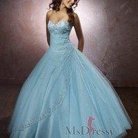 Ball Gown Sweetheart Floor-length Tulle Popular Prom Dress with Applique at Msdressy