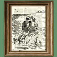 Tidal Pool Lovers Valentine's Day Couple by collageOrama on Etsy