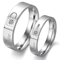 Titanium Stainless Steel Lock and Key Wedding Ring Promise Ring Couple Wedding Band with Engraved