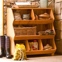 Wooden 3-Tier Storage Cubby - Plow & Hearth