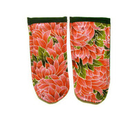 Floral Pot Holder Handle / Skillet Handle Holders Pink and Green