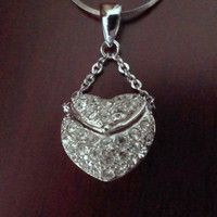 Sterling Silver CZ Heart Locket Pendant with 18&quot; Chain