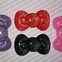 Stunning BIG glitter bow cabochons  4 piece set by MottoMiquette