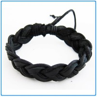 Twisted Black Leather Trendy Bangle/Bracelet for Unisex