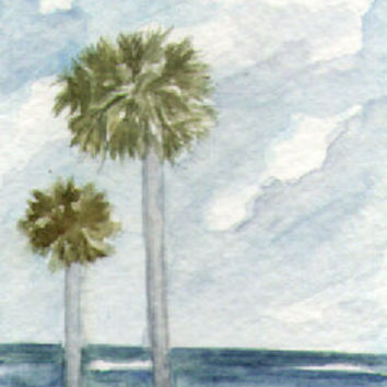 Palm Trees Seascape Original Watercolor ACEO - Handmade Crafts by Rosie Brown Creations