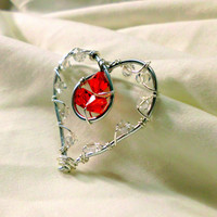 "Double Heart Wire Wrapped Pendant, Silver with Red & White Crystals, ""Melissa"""