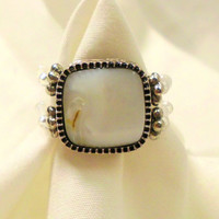 "Silver Set Mother of Pearl Beaded, Adjustable Ring, ""Patricia"""