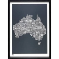 Australia Type Map Print - Slate - Wedding Gift from the gifted penguin UK