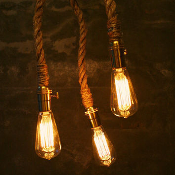 Chandelier Lighting Industrial Light 3 Edison Bulb by LukeLampCo