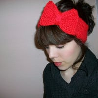 Red Retro Crocheted Bow Winter Headband by LaPluieBelle on Etsy