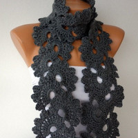 Gray  Queen Anne's Lace Scarf  Grey  Gift for Her Mom by anils