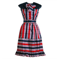 1960&#x27;s Oscar de la Renta Plaid-Silk Belted Mod Babydoll Dress at 1stdibs