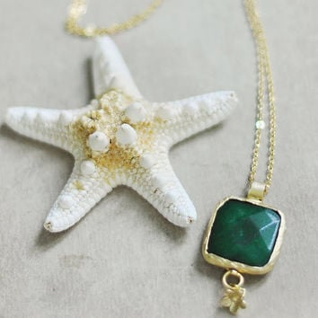 Candy store collection Simple bold and elegant green jade pendant gemstone necklace by YUNILIsmiles