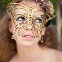 Butterfly leather mask in Gold by TomBanwell on Etsy
