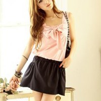 Sweet Bow Tie Ladies Summer Dresses Pink : Wholesaleclothing4u.com