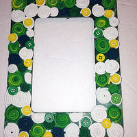 Green and Yellow Polymer Clay and Button Picture Frame