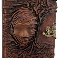 3D Scarfed Woman Sculpture on a Brown Handmade Leather Bound Journal LO105