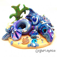 Rare WATER DRAGON - OOAK Mythical Fantasy Sculpted Sea Creature - Elements Dragon