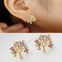Diamond blessing tree stud earring from LOOBACK FASHION STORE
