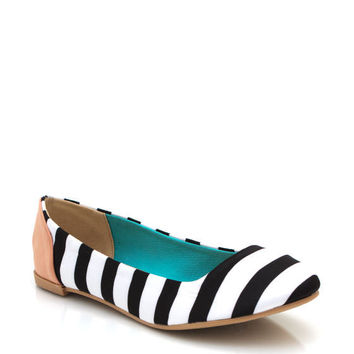 striped-two-tone-flats BLACKWHITE CORALWHITE GREENWHITE - GoJane.com