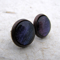 Aurora Borealis Post Earrings - Antiqued Copper - Blue Purple Night Sky SALE