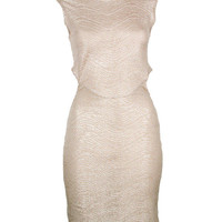 Gold Metallic Cut Out Dress - Clothing - desireclothing.co.uk