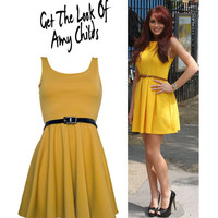 Mustard Tailored Pleat Dress - Dresses - desireclothing.co.uk