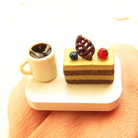 Kawaii Ring Food Coffee Cake Miniature Food by SouZouCreations