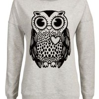 New Look Mobile | Grey Flocked Owl Print Sweater
