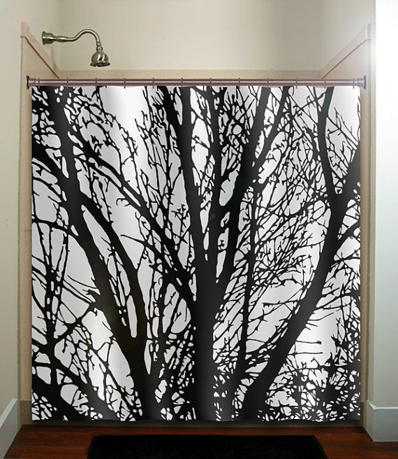 black tree branches shower curtain from tablishedworks on etsy