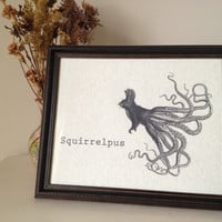 Framed 8 x 10 Squirrelpus Print by Bfiberandcraft on Etsy