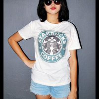 Starbucks Shirt Coffee Shop Indie Off White Women T-Shirt Size M