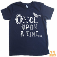 Etsy  Kids T Shirt in Navy  ONCE UPON a TIME  Kid Sizes by ZenKids