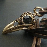 Bird Skull Raven Skull Necklace with Tribal Design  by LostApostle