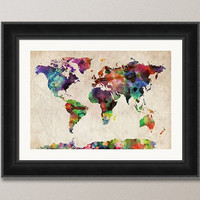 Watercolor Map of the World Art Print 18x24 inch 749 by artPause