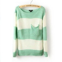 NEW h&m Stripe Pocket Woolen Blend Sweater (US 8)